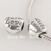 New European Style S925 Sterling Silver Liebe &Amor & Love  Bead Charms