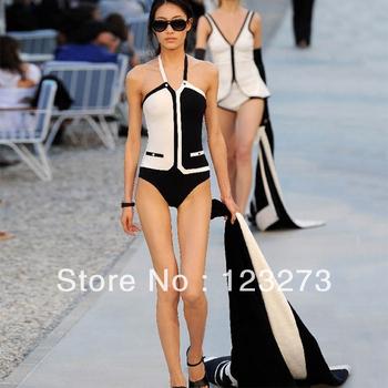 Romantic swimwear sexy triangle one piece swimwear black-and-white beach wear sexy triangle one piece swimwear M L XL