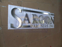 CUSTOM-MADE outdoor brushed stainless steel channel letters signage signboard advertising signs