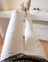 Free shipping 2015 The new European and American style holes was thin leggings pants trousers wild