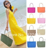 2013 Free Shipping Hot Simple wild shoulder straw bag woven package weaving Beach Tote Shoulder Big Bag High Quality