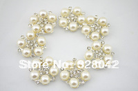 Free shipping Alloy Metal Buttons  25mm  5 Pearls centre  bling Button Flat Back 240pcs/lot