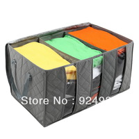 Free shipping Bamboo charcoal hard bottom Windows clothing bin bin receive large chest of drawers with a cover on it