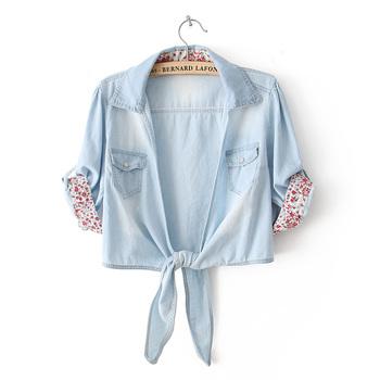2014, лето, новый сладкие и элегантным джинсовые рубашки лацкан короткий параграф ...