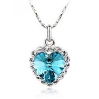 mix lot wholesale hot sale austria Crystal with swarovski element accessories female short popular heart  pendant necklace