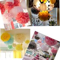 10pcs 18'' Tissue Paper Pom Poms Party Wedding Decor Craft Shower Flower Balls Decoration assorted Colors for wedding/party