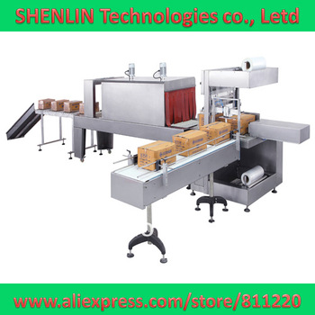 Plastic film sleeve wrapping sealing and shrinking machinery,packaging production line,large size package available,film packing