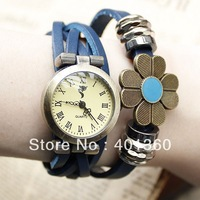 Multi Colors Vintage Genuine Leather Weave Strap Ladies' Watch ROMA Dial Charm Flower Bracelet Wristwatch.Free Shipping