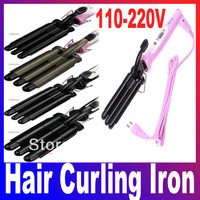 Free Shipping+Dropshipping Hair Curling Iron Three Barrel Wave Hair Curler 110-220V (EU US Plug) Black  Pink Color are provided