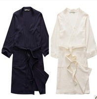. Bath robe] [summer thin cotton waffle cotton long sleeve robe cotton bathrobe larger sizes for men and women