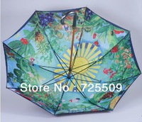 Free Shipping Miyazaki Totoro Ghibli Anti-UV Two-tier Cartoon Design Stick Wood Umbrellas