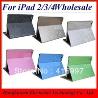10PCS/LOT free shipping Light Brown PU leather diamond football pattern Fashionablue case cover for iPad2/3/4