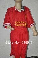 best quality soccer jerseys 13 / 14 EPL Liverpool home red jersey football shirts&short for youth boy child  #8 Steven Gerrard