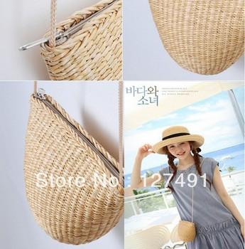 Free Shipping 2013 Hot Sale women messenger bag flower straw bag beach bag rustic women's handbag fashion straw bag High Quality