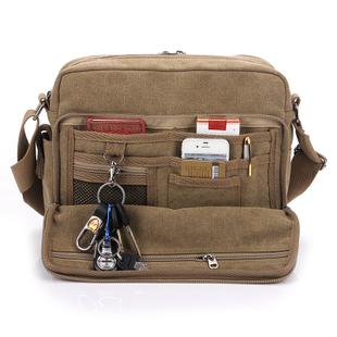 New 2014 Male 100% Cotton Canvas Shoulder Bag Casual Messenger bag Size 10x25x30cm,1 Pcs MOQ Free Shipping