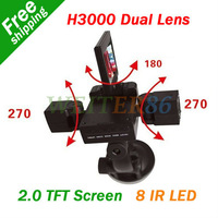 H3000 2.0 Inch TFT Screen  Rotatable Dual Lens Car DVR Camera Recorder With 120 Wide Angle + 8 IR LED Night Vision Camcorder