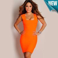 Hot Selling Girls' Dresses Orange Woolen Sexy Night Club Wear dresses 2013 New women Free Shipping big size S M L XL XXL