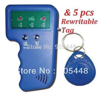 Handheld 125khz ID Card Copier Writer RFID Keyfob Duplicate Access Control Waterproof Compatible T5577& 5pcs Free Rewritable Tag