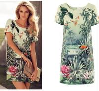 S M L Women Europe Fashion Women's Painting Landscape Print Floral Chiffon Dress