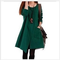 New 2013 Autumn-Winter Casual Dress Women Slim Long Sleeve Knee-length Cotton One Piece Dresses Size M,L,XL
