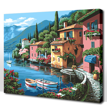 "DIY Paint By Number 16*20"" Romantic House Beside the River Framed Oil Painting On Canvas For Living Room Wall Art Decoration"