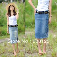 women's summer slim cut denim mid calf length slim hip bust skirt single breasted side slit casual skirt in deep/light blue