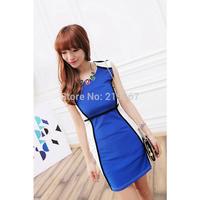 2013 summer women's color block decoration dy2062 short-sleeve dress slim