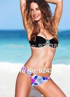 hot fashion bikini sets in black bra floral shorts rhinestone deco falbala edge  sexy design size S/M/L