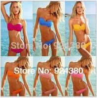 2014 fashion multi-color solid bikini with metal ring brief sexy slim women swimwear S M L