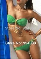 2014 new casual bikini set with metal chain deco multi-color beach swim suit  push up women swimwear size S M L