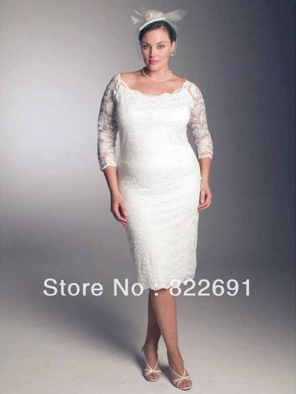 Classically Designed Sheath Tea Length Lace Plus Size Ivory Bridal Gown Sexy(China (Mainland))