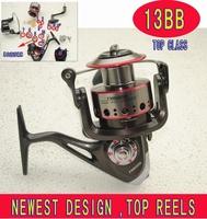 Newest fishing reels 12+1 ball bearings 6000 size fishing spinning reels , metal reels ,sea reels