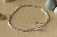 10pcs/lot 7.5 inch 3MM Snake Chain Bracelelt,silver Charm Bracelet, 18KGP Bracelet Fit Pan Bracelet  Free Shipping