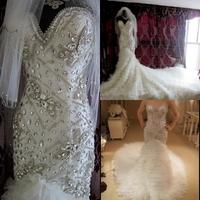 DMR016 Dreamaker Sheath Mermaid Bridal Gowns 2015 Layered Tulle Long Train Wedding Gowns Fully Luxury Crystal Wedding Dresses