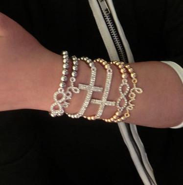 fashion new imitation diamond cross lucky 8 and word love bracelet bangle.Free shipping! wholesale!(China (Mainland))