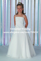 New Arrivals A Line Full Length Appliques Beads White Spaghetti Straps Flowergirl Dress 2013 LG108