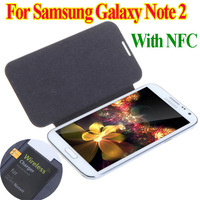 Qi Wireless Charger Receiver & Flip hard Back Cover Case with NFC for Samsung Galaxy Note II 2 N7100 Free Shipping
