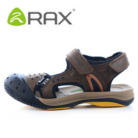 Rax men's summer sandals male breathable genuine leather outdoor sandals quick-drying shoes water walking shoes EUR:39-44