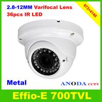 700TVL Sony 960H CCD Effio-E DSP OSD Menu Manual Zoom 2.8-12mm Varifocal Lens 36LED Day/Night Security Dome CCTV Camera