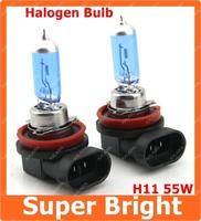 H11 Brand New H11 12V 55W New Super White Light Bulbs 6000K 2 Pcs Halogen Xenon Low Beam Freeshipping AAA
