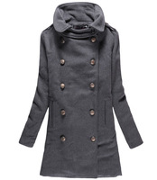 2013 Women Long Coat fashion Turn-Down Collar Double Breasted Eoolen Coats