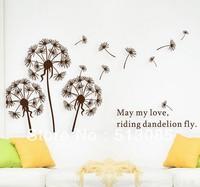 Wholesale 2set/lot 2014 New Coffee Dandelion flowers removable PVC wall decor decorative wall stickers vinyl stickers 45*65cm