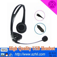 Free Shipping! 101U Good sound performance Headphone with microphone, USB Plug Earphone with mic