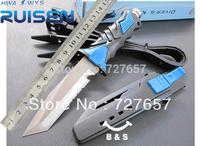 Field survival/sharp's straight knife hunting knife folding saber/outdoor tool/American diving knife/send leggings blue