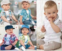 5 Models! 1 set Retail!!2013 New arrival baby clothes set Casual boy's plaid 3pcs suit (shirt+t-shirt+pants) Baby boy set BCS009