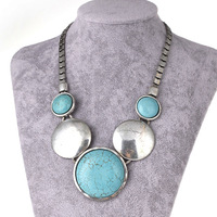 Free Shipping,Fashion Round Vintage turquoise jewelry Antique Silver Plated Alloy Turquoise Necklace with for Women Gifts ANT019