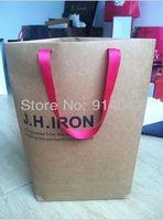 Cylinder Kraft Paper Packing Bags/Handle Bags Environmental Reticule Customized MOQ 1000PCS Shopping Bag