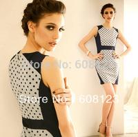 brief polka dot patchwork color block fashion everyday dress for girls ladies elegant work dress sleeveless o neck slim dress