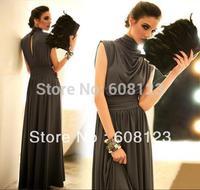 amazing maxi dress women full dress stand collar empire waist long dress adies new designer elegant flowing evening dress