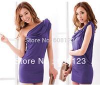 women slim hip bodycon dress fashionable fancy one shoulder sleeveless sexy mini dress summer cotton clothing in purple